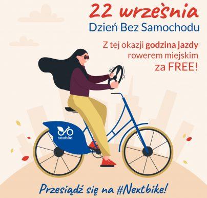 <strong>Dziś, 22 września obchodzimy Dzień Bez Samochodu. Użytkownicy większości systemów rowerowych, których operatorem jest Nextbike Polska, będą mogli przez godzinę jeździć za darmo.</strong>